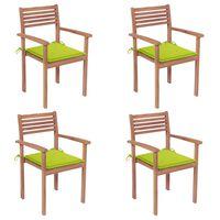 vidaXL Krzesła ogrodowe, 4 szt., jasnozielone poduszki, drewno tekowe