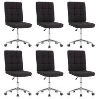 vidaXL Krzesła stołowe, 6 szt., czarne, tapicerowane tkaniną