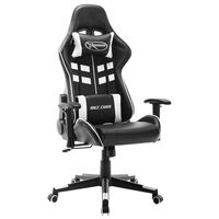 vidaXL Fotel dla gracza, czarno-biały, sztuczna skóra