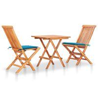 vidaXL 3-cz. zestaw mebli bistro, niebieskie poduszki, drewno tekowe