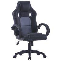 vidaXL Fotel dla gracza, szary, sztuczna skóra