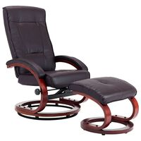 vidaXL Rozkładany fotel z podnóżkiem, brązowy, sztuczna skóra