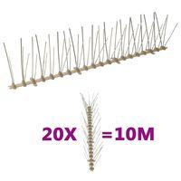 vidaXL Kolce przeciw ptakom, 5 rzędów, plastikowe, 20 szt., 10 m