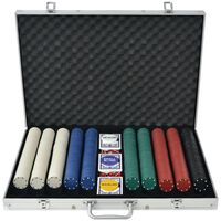 vidaXL Zestaw do pokera 1000 żetonów, aluminium