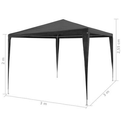 vidaXL Namiot imprezowy, 3 x 3 m, PE, antracytowy