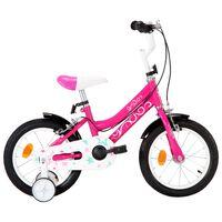 vidaXL Rower dla dzieci, 14 cali, czarno-różowy