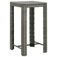 vidaXL Ogrodowy stolik barowy, szary, 60,5x60,5x110,5 cm, polirattan