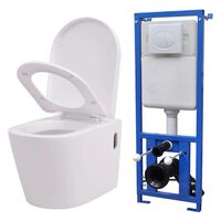 vidaXL Podwieszana toaleta ceramiczna ze spłuczką, biała