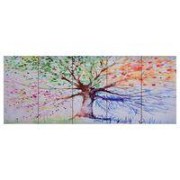 vidaXL Zestaw obrazów z deszczowym drzewem, kolorowy, 150x60 cm