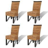 vidaXL Krzesła stołowe, 4 szt., abaka i lite drewno mango