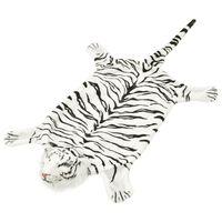 vidaXL Pluszowy dywanik - tygrys, 144 cm, biały