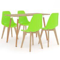 vidaXL 5-częściowy zestaw mebli jadalnianych, zielony