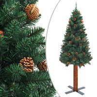 vidaXL Smukła choinka z drewnem i szyszkami, zielona, 210 cm, PVC