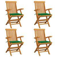 vidaXL Krzesła ogrodowe, zielone poduszki, 4 szt., lite drewno tekowe