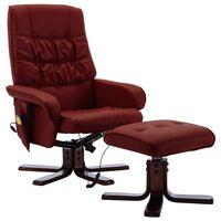vidaXL Rozkładany fotel masujący z podnóżkiem, czerwone wino, ekoskóra