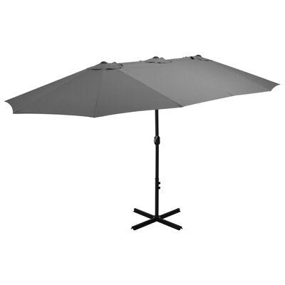 vidaXL Parasol ogrodowy na słupku aluminiowym, 460x270 cm, antracytowy