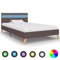 vidaXL Rama łóżka z LED, taupe, tkanina, 100 x 200 cm