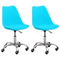 vidaXL Krzesła biurowe, 2 szt., niebieskie, sztuczna skóra