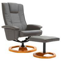 vidaXL Fotel obrotowy z podnóżkiem, szary, sztuczna skóra