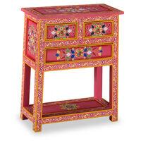 vidaXL Szafka z szufladami, drewno mango, różowa, ręcznie malowana