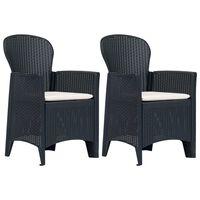 vidaXL Krzesła ogrodowe z poduszkami, 2 szt., antracytowe, plastikowe