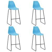 vidaXL Krzesła barowe, 4 szt., niebieskie, plastik