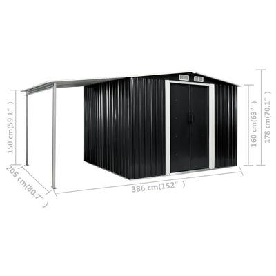 vidaXL Szopa ogrodowa z drzwiami przesuwnymi, antracyt, 386x205x178 cm