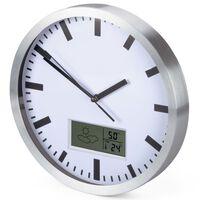 Perel Zegar ścienny, 25 cm, biało-srebrny