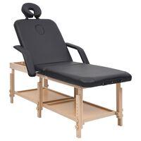vidaXL 3-strefowy stół do masażu, czarny, obity sztuczną skórą