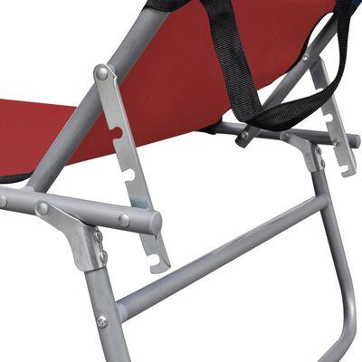 vidaXL Składany leżak z zadaszeniem, stal i tkanina, czerwony