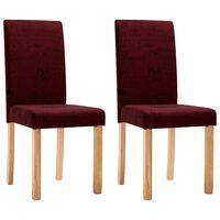 vidaXL Krzesła stołowe, 2 szt., czerwone wino, tkanina