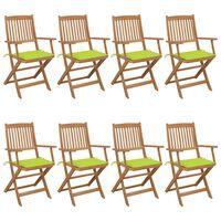 vidaXL Składane krzesła ogrodowe z poduszkami, 8 szt., drewno akacjowe