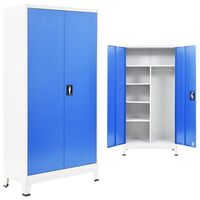 vidaXL Szafa 2-drzwiowa z zamkiem, metal, 90x40x180cm, szaro-niebieska