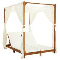 vidaXL Podwójny leżak z zasłonami i poduszkami, lite drewno akacjowe
