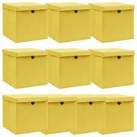 vidaXL Pudełka z pokrywami, 10 szt., żółte, 32x32x32 cm, tkanina
