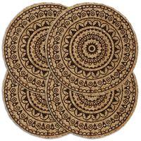 vidaXL Maty na stół, 4 szt., ciemnobrązowe, 38 cm, okrągłe, juta
