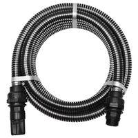 vidaXL Wąż ssący ze złączkami, 7 m, 22 mm, czarny