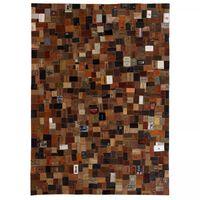 vidaXL Dywan patchworkowy z naszywek skórzanych, 160x230 cm, brązowy