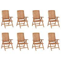 vidaXL Rozkładane krzesła ogrodowe, 8 szt., lite drewno tekowe