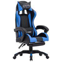 vidaXL Fotel dla gracza, z podnóżkiem, niebiesko-czarny, ekoskóra