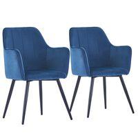 vidaXL Krzesła stołowe, 2 szt., niebieskie, aksamit