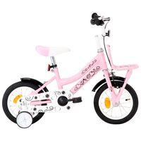 vidaXL Rower dla dzieci z bagażnikiem, 12 cali, biało-różowy