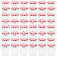 vidaXL Szklane słoiki na dżem, biało-czerwone pokrywki, 48 szt, 230 ml