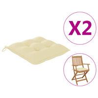 vidaXL Poduszki na krzesła, 2 szt., kremowe, 40x40x7 cm, tkanina