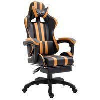 vidaXL Fotel dla gracza z podnóżkiem, pomarańczowy, sztuczna skóra