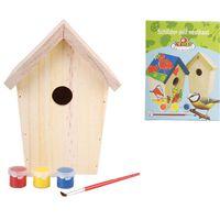 Esschert Design DIY domek dla ptaszków z farbą 14,8x11,7x20 cm KG145