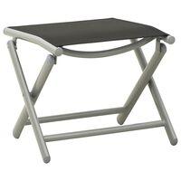 vidaXL Składany podnóżek, czarno-srebrny, textilene i aluminium