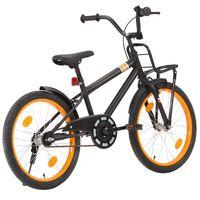 vidaXL Rower dziecięcy z bagażnikiem, 20 cali, czarno-pomarańczowy