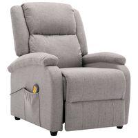 vidaXL Rozkładany fotel masujący, jasnoszary, tkanina