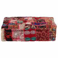 vidaXL Kwadratowy puf patchworkowy, bawełna, 50x50x12 cm, czerwony